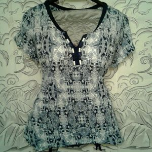 RXB Navy/White Patterned Top Size XL